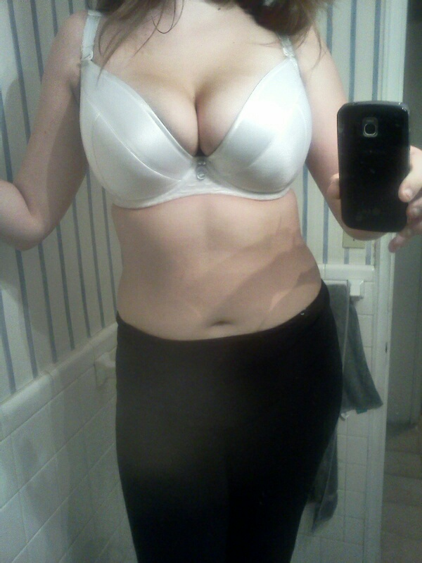 This is the PL Lilia, which is, at it's best, a little small for me. Add in the push up pads and tighten the straps a little more, and it's the ultimate butt cleavage bra.